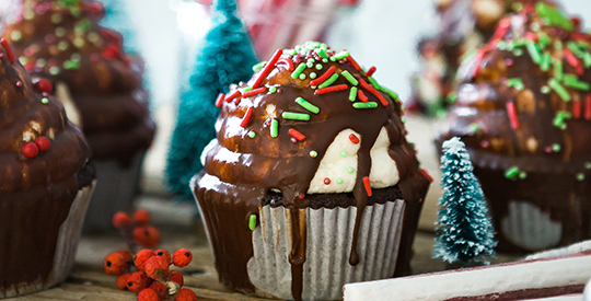 holiday cupcake with sprinkles
