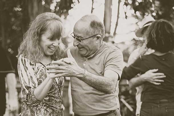 Older couple dancing